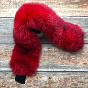 Genuine Fox Fur Oversize Red Adjustable Headband